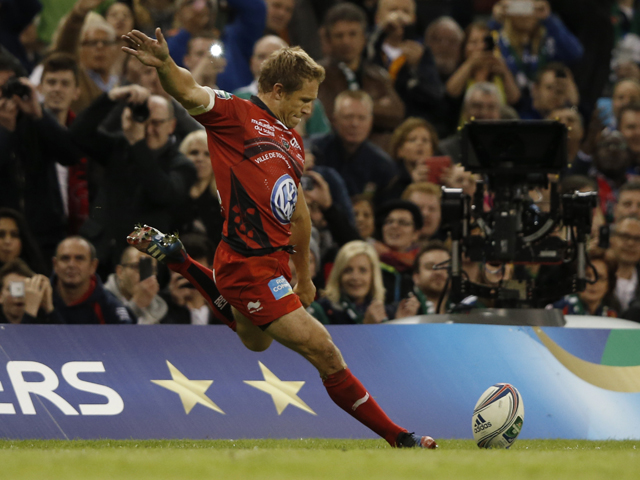 Toulon's English fly-half Jonny Wilkinson kicks a try conversion during the European Cup final rugby union match between RC Toulon and Saracens at The Millennium Stadium in Cardiff, South Wales, on May 24, 2014