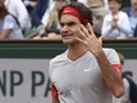 Roger Federer reacts angrily during his French Open fourth round match against Ernests Gulbis on June 1, 2014