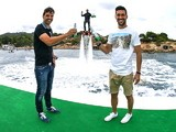 Former Champions League winners Fernando Morientes and Luis Garcia at the Heineken Ibiza Final on May 24, 2014
