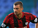 Gabriel Tamas of West Bromwich Albion in action during the pre-season friendly between West Bromwich Albion and Atromitosat Greenhous Meadow on July 29, 2013