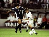 England striker Michael Owen starts his run against Argentina that ends in a goal on June 30, 1998.