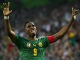Cameroon's forward Samuel Eto'o celebrates after scoring during the friendly football match Germany vs Cameroon in preparation for the FIFA World Cup 2014 on June 1, 2014