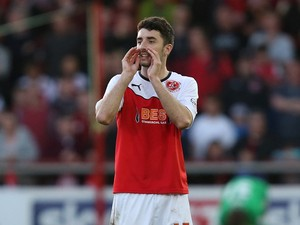 Conor McLaughlin of Fleetwood Town in action during the Sky Bet League Two play off Semi Final second leg match between Fleetwood Town and York City at Highbury Stadium on May 16, 2014