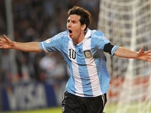 Lionel Messi celebrates scoring for Argentina against Uruguay on October 12, 2012.