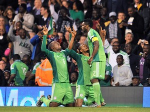 Nigeria's striker Michael Uchebo celebrates scoring the equalising goal during the international friendly football match between Nigeria and Scotland at Craven Cottage in London on May 28, 2014