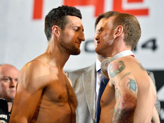 Carl Froch and George Groves weigh in on May 30, 2014 ahead of their rematch.