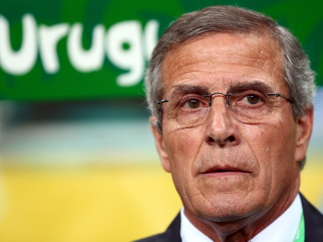 Uruguay coach Oscar Tabarez sits in the dugout on June 20, 2013.