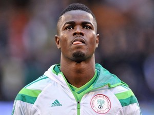 Nigerian defender Elderson Echiejile looks on before the international friendly football match between Nigeria and Scotland at Craven Cottage in London on May 28, 2014