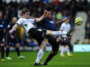 Colin Kazim-Richards of Blackburn Rovers battles with Mark O'Brien of Derby County during the FA Cup with Budweiser Fourth Round match between Derby County and Blackburn Rovers at Pride Park Stadium on January 26, 2013