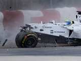 Williams driver Felipe Massa of Brazil hits the wall at turn 1 during the Canadian Formula One Grand Prix at the Circuit Gilles Villeneuve in Montreal on June 8, 2014