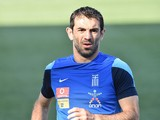Greek national team midfielder Giorgios Karagounis takes part in a practice session in Chester, Pennsylvania, on June 2, 2014
