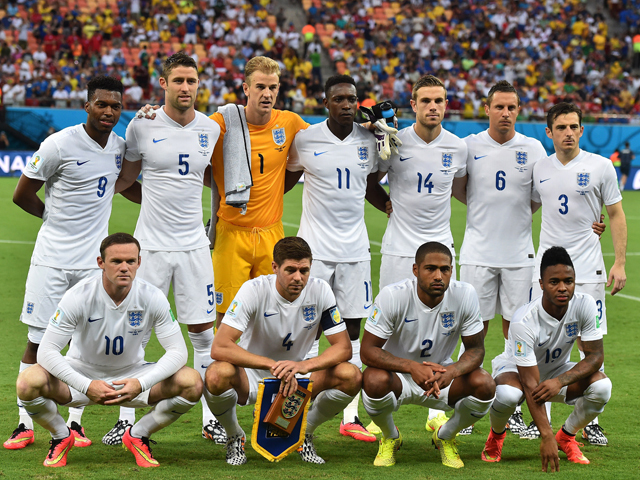 England's players prior to the football match between England and Italy at the Amazonia Arena in Manaus during the 2014 FIFA World Cup on June 14, 2014