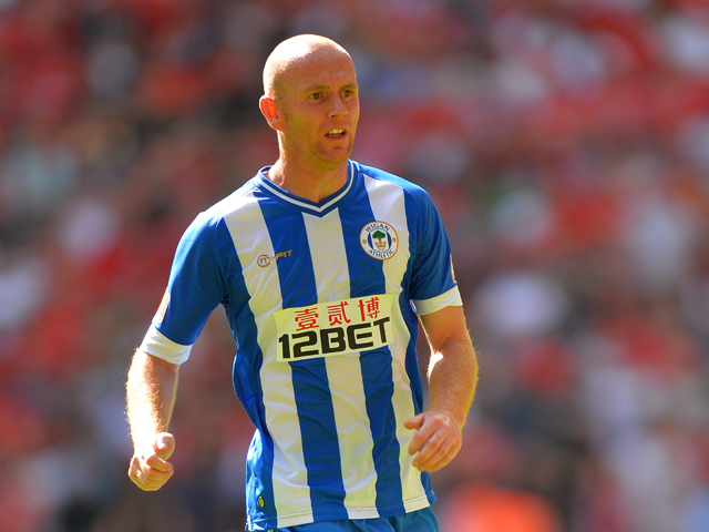 Stephen Crainey of Wigan Athletic in action during the FA Community Shield match between Manchester United and Wigan Athletic at Wembley Stadium on August 11, 2013