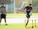 Alex Oxlade-Chamberlain runs drills during an England training session on June 16, 2014.