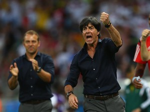 Head coach Joachim Low of Germany celebrates his team's second goal during the 2014 FIFA World Cup Brazil Group G match between Germany and Ghana at Castelao on June 21, 2014
