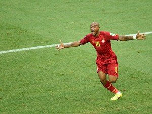 Ghana's midfielder Andre Ayew celebrates after scoring during a Group G football match between Germany and Ghana at the Castelao Stadium in Fortaleza during the 2014 FIFA World Cup on June 21, 2014