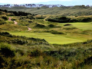 The par 4, 5th hole (left) and the par 3, 6th hole on the Valley Course at Royal Portrush Golf Club on July 25, 2009