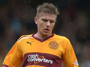 Shaun Hutchinson of Motherwell during the SPL match between Motherwell and St Mirren at Fir Park on August 26, 2012