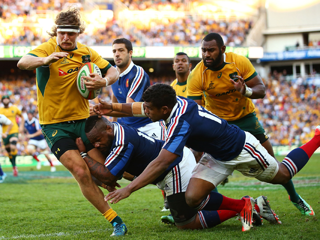 Nick Cummins of the Wallabies is tackled during the International Test match between the Australia Wallabies and France at Allianz Stadium on June 21, 2014