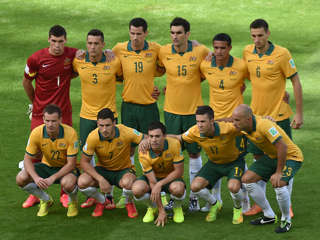 Members of the Australia national team pose prior to a Group B football match between Australia and the Netherlands at the Beira-Rio Stadium in Porto Alegre during the 2014 FIFA World Cup on June 18, 201