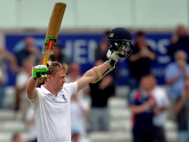 England's Sam Robson celebrates scoring his maidan century on the second day of the second Test match between England and Sri Lanka at Headingley cricket ground in Leeds, northern England on June 21, 2014