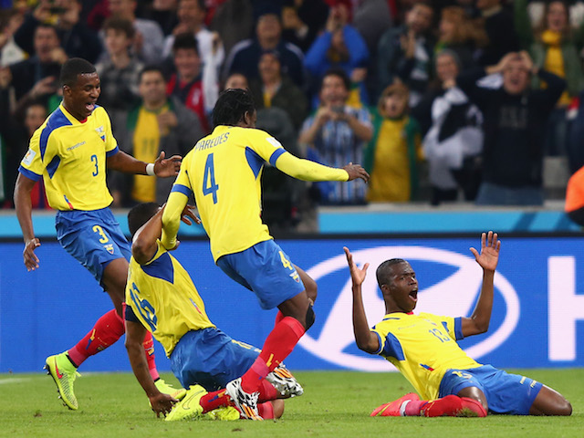 Enner Valencia of Ecuador (R) celebrates after scoring his team's second goal against Honduras on June 20, 2014