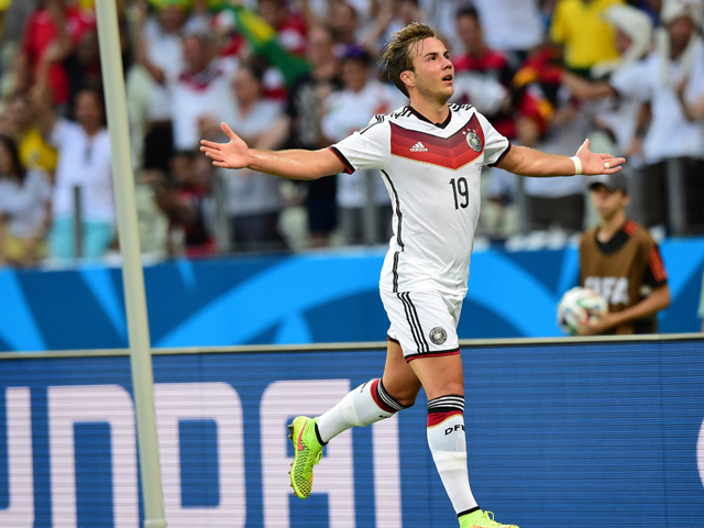Germany's forward Mario Gotze celebrates after scoring during a Group G football match between Germany and Ghana at the Castelao Stadium in Fortaleza during the 2014 FIFA World Cup on June 21, 2014