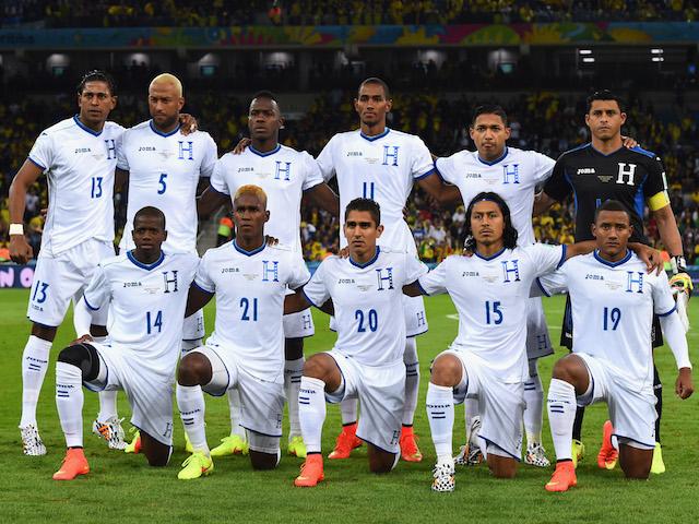 Honduras pose for a team photo prior to the 2014 FIFA World Cup Brazil Group E match between Honduras and Ecuador at Arena da Baixada on June 20, 2014