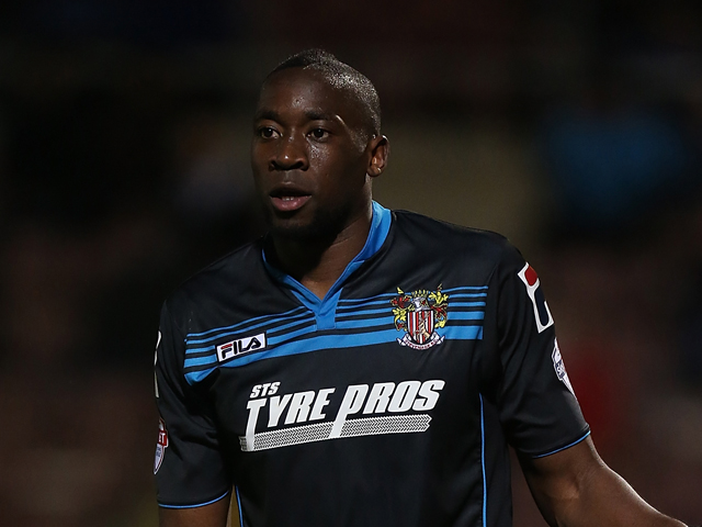 Lucas Akins of Stevenage in action during the Sky Bet League One match between Coventry City and Stevenage at Sixfields Stadium on March 26, 2014