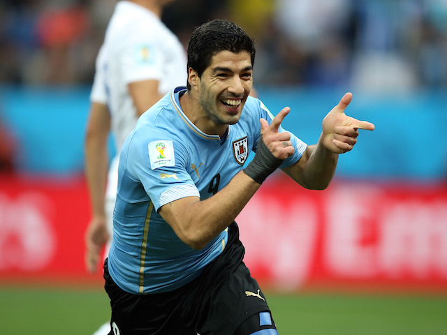 Luis Suarez of Uruguay celebrates scoring his team's first goal during the 2014 FIFA World Cup Brazil Group D match against England on June 19, 2014