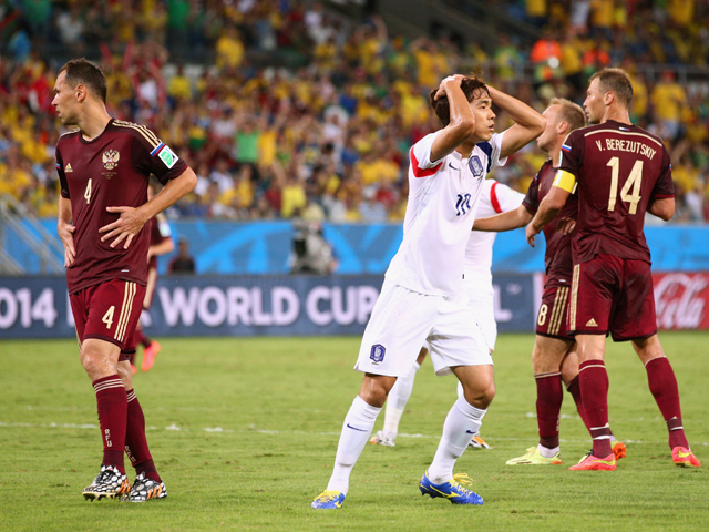 Park Chu-Young of South Korea reacts during the 2014 FIFA World Cup Brazil Group H match between Russia and South Korea at Arena Pantanal on June 17, 2014