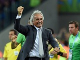 Algeria's Bosnian coach Vahid Halilhodzic celebrates after an equalising goal during the Group H football match between Algeria and Russia at The Baixada Arena in Curitiba on June 26, 2014
