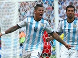 Marcos Rojo of Argentina celebrates scoring his team's third goal during the 2014 FIFA World Cup Brazil Group F match between Nigeria and Argentina at Estadio Beira-Rio on June 25, 2014