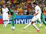 Giorgos Samaras of Greece scores his team's second goal on a penalty kick during the 2014 FIFA World Cup Brazil Group C match against Ivory Coast on June 24, 2014