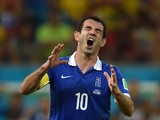 Greece's midfielder and captain Giorgos Karagounis reacts during a Round of 16 football match between Costa Rica and Greece at Pernambuco Arena in Recife during the 2014 FIFA World Cup on June 29, 2014