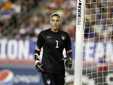 Goalkeeper Hope Solo #1 of the United States takes her position in goal during the second half of a women's friendly soccer match against France on June 14, 2014