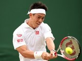 Japan's Kei Nishikori returns to US player Denis Kudla during their men's singles second round match on June 26, 2014