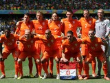 The Netherlands pose for a team photo prior to the 2014 FIFA World Cup Brazil Round of 16 match between Netherlands and Mexico at Castelao on June 29, 2014