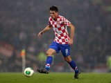 Ognjen Vukojevic of Croatia in action during the World Cup, Group A qualifying football match between Scotland and Croatia at Hampden Park in Glasgow, Scotland, on October 15, 2013