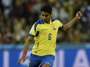 Ecuador's midfielder Christian Noboa kicks the ball during a Group E football match between Honduras and Ecuador at the Baixada Arena in Curitiba during the 2014 FIFA World Cup on June 20, 2014