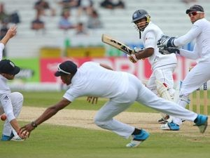 Sri Lanka's Rangana Herath plays a shot on day four of the Second Test at Headingley on June 23, 2014.