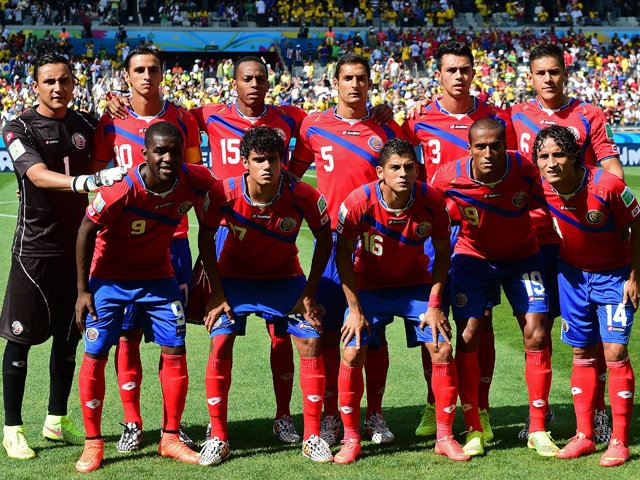 The Costa Rica team pose for a team picture before the start of a Group D match between Costa Rica and England at the Mineirao Stadium in Belo Horizonte during the 2014 FIFA World Cup on June 24, 2014