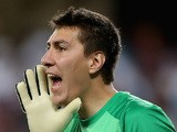 Costel Pantilimon of Manchester City reacts during the friendly match between Al Ain and Manchester City at Hazza bin Zayed Stadium on May 15, 2014