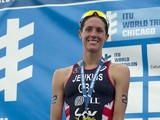 Helen Jenkins of Great Britain celebrates second place in the Elite Women's race in the 2014 ITU World Triathlon in Grant Park on June 28, 2014