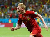 Kevin De Bruyne of Belgium celebrates after scoring his team's first goal in extra time during the 2014 FIFA World Cup against USA on July 1, 2014