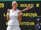 Czech Republic's Petra Kvitova celebrates winning her women's singles semi-final match against Czech Republic's Lucie Safarova