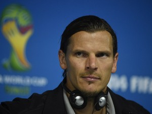 Belgium's defender Daniel Van Buyten gives a press conference at Corinthians Arena in Sao Paulo on June 25, 2014