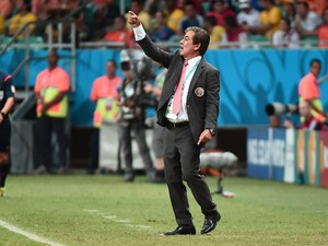 Costa Rica's Colombian coach Jorge Luis Pinto gestures during a quarter-final football match between Netherlands and Costa Rica at the Fonte Nova Arena in Salvador during the 2014 FIFA World Cup on July 5, 2014