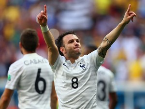 Mathieu Valbuena of France celebrates his team's secong goal on an own goal by Joseph Yobo of Nigeria during the 2014 FIFA World Cup Brazil Round of 16 match between France and Nigeria at Estadio Nacional on June 30, 2014