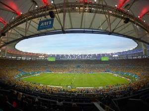 A general view of the stadium during the 2014 FIFA World Cup Brazil round of 16 match between Colombia and Uruguay at Maracana on June 28, 2014